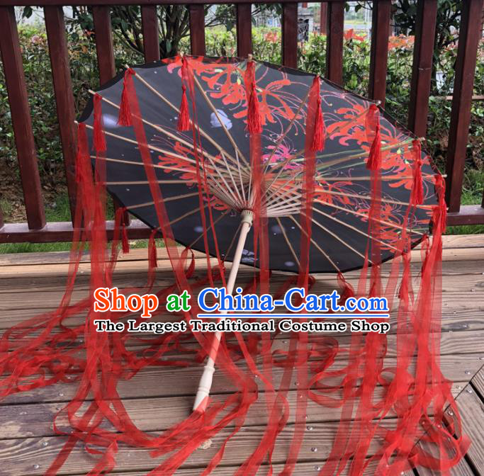 Chinese Ancient Drama Prop Black Silk Umbrella Traditional Handmade Red Ribbon Umbrellas