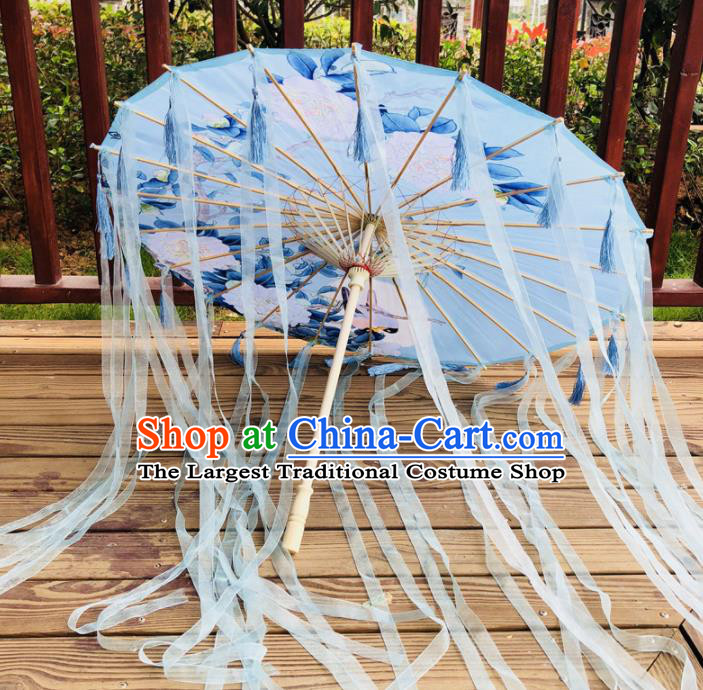 Chinese Ancient Drama Prop Silk Umbrella Traditional Handmade Blue Ribbon Umbrellas