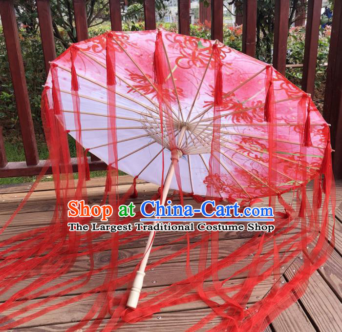 Chinese Ancient Drama Prop Printing Silk Umbrella Traditional Handmade Red Ribbon Umbrellas