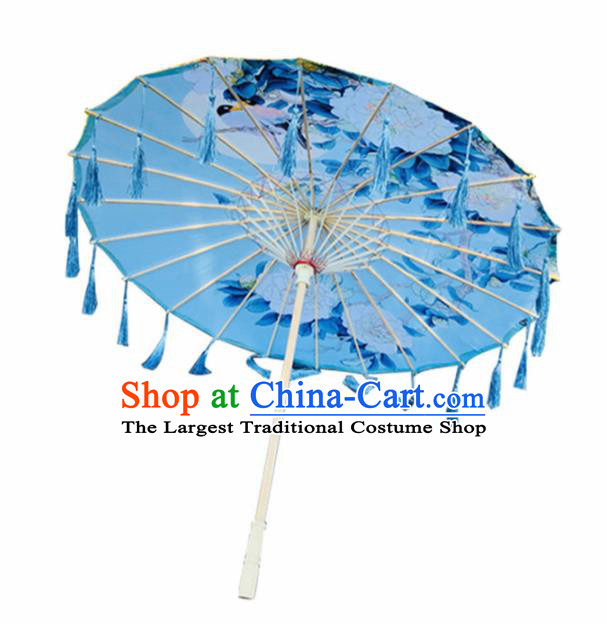 Chinese Ancient Drama Prop Printing Peony Silk Umbrella Traditional Handmade Blue Tassel Umbrellas