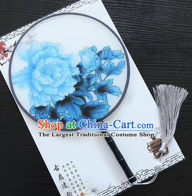 Chinese Traditional Palace Fans Ancient Princess Printing Peony Round Fans for Women