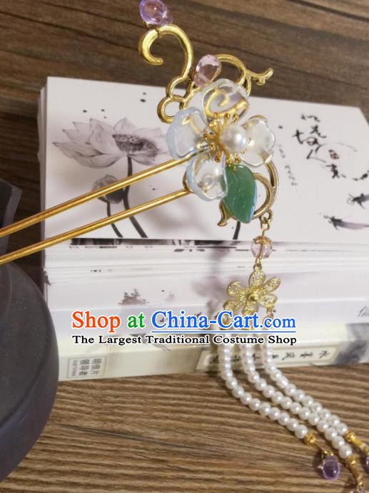Chinese Ancient Princess Beads Tassel Hairpins Traditional Hanfu Hair Accessories for Women