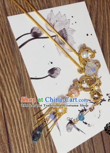 Chinese Ancient Princess Tassel Golden Hairpins Traditional Hanfu Hair Accessories for Women