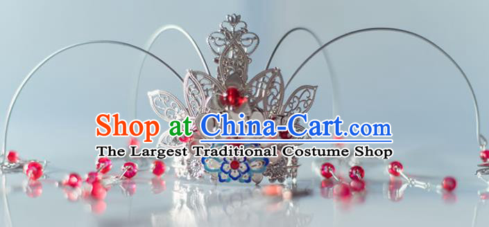 Chinese Ancient Princess Red Beads Tassel Phoenix Coronet Hairpins Traditional Hanfu Hair Accessories for Women
