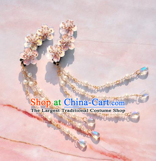 Chinese Ancient Princess Pink Flowers Hair Sticks Tassel Hairpins Traditional Hanfu Hair Accessories for Women