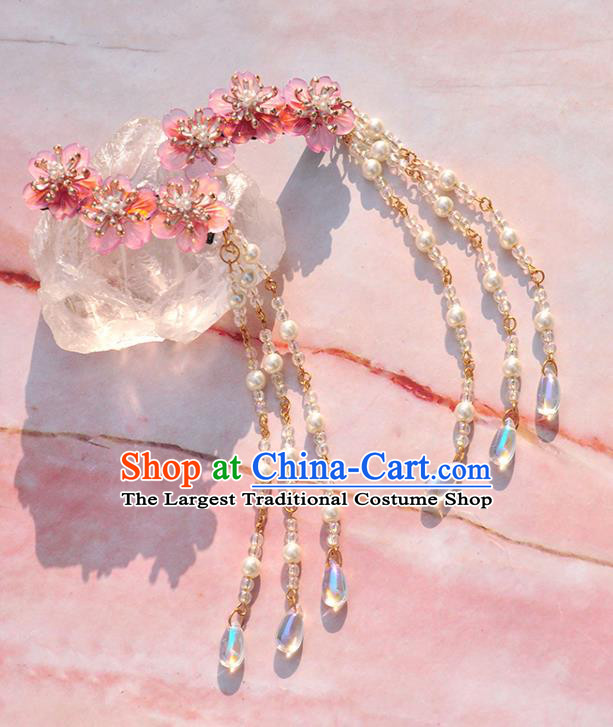 Chinese Ancient Princess Flowers Hair Sticks Tassel Hairpins Traditional Hanfu Hair Accessories for Women