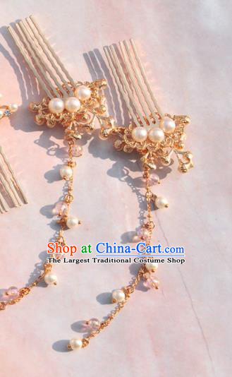Chinese Ancient Princess Golden Hair Combs Tassel Hairpins Traditional Hanfu Hair Accessories for Women