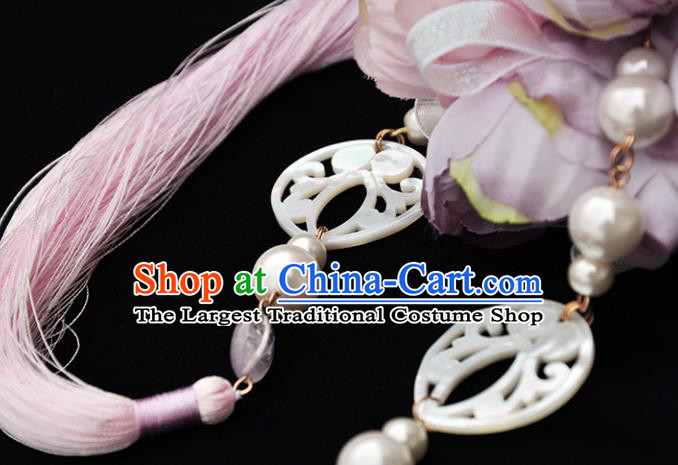 Chinese Traditional Hanfu Shell Waist Accessories Ancient Princess Tassel Pendant for Women