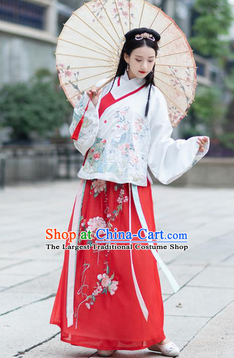 Chinese Traditional Ming Dynasty Historical Costume Ancient Peri Princess Hanfu Dress for Women