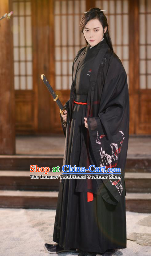 Traditional Chinese Jin Dynasty Knight Historical Costume Ancient Swordsmen Hanfu Clothing for Men