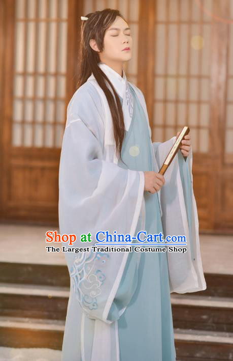 Traditional Chinese Jin Dynasty Nobility Childe Historical Costume Ancient Swordsmen Hanfu Clothing for Men