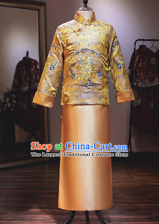 Chinese Traditional Wedding Costume Ancient Bridegroom Embroidered Tang Suit Clothing  for Men