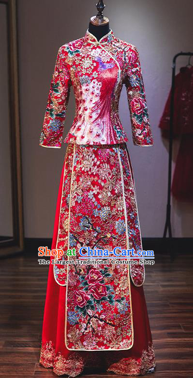 Chinese Traditional Wedding Diamante Xiuhe Suit Ancient Bride Embroidered Dress for Women
