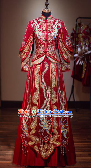 Chinese Traditional Wedding Red Xiuhe Suit Ancient Bride Embroidered Phoenix Dress for Women
