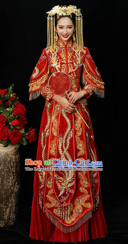 Chinese Traditional Bride Diamante Xiuhe Suit Ancient Wedding Embroidered Phoenix Dress for Women