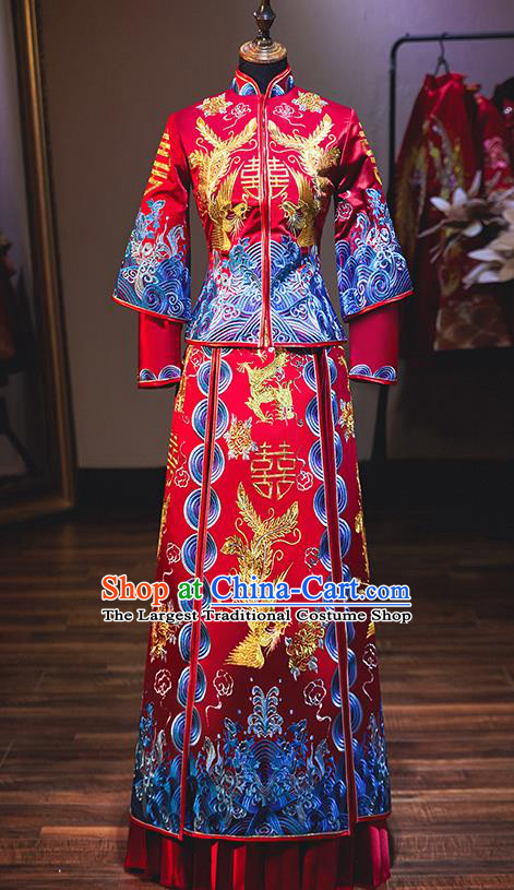 Chinese Traditional Bride Costume Wedding Xiuhe Suit Ancient Embroidered Phoenix Peony Dress for Women