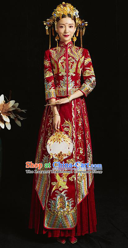 Chinese Traditional Bride Diamante Costume Embroidered Phoenix Xiuhe Suit Ancient Wedding Dress for Women