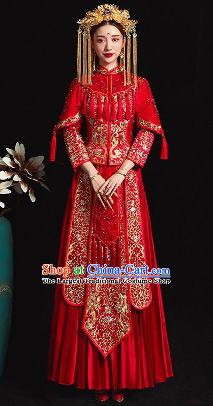 Chinese Traditional Bride Costume Embroidered Xiuhe Suit Ancient Wedding Red Dress for Women