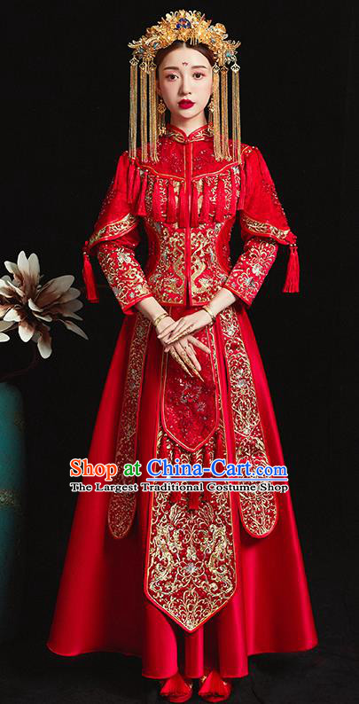 Chinese Traditional Bride Costume Embroidered Xiuhe Suit Ancient Wedding Red Tassel Dress for Women