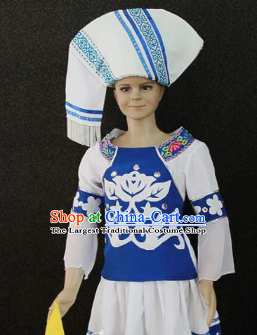 Chinese Traditional Zhuang Nationality White Clothing Ethnic Folk Dance Costume for Kids