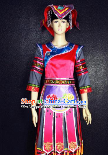 Chinese Traditional Gelao Nationality Embroidered Red Dress Ethnic Folk Dance Costume for Women