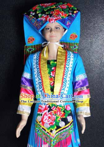 Chinese Traditional Zhuang Nationality Blue Clothing Ethnic Folk Dance Costume for Kids