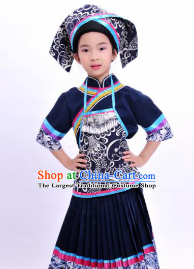 Chinese Traditional Zhuang Nationality Embroidered Navy Dress Ethnic Folk Dance Costume for Kids