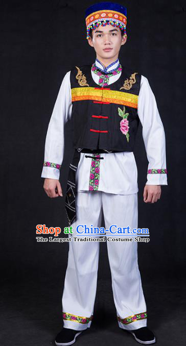 Chinese Traditional Lahu Nationality Clothing Ethnic Bridegroom Folk Dance Costume for Men