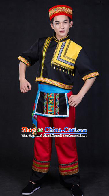 Chinese Traditional Yao Nationality Clothing Ethnic Bridegroom Folk Dance Costume for Men