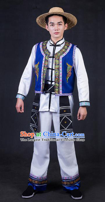Chinese Traditional Jing Nationality White Clothing Ethnic Bridegroom Folk Dance Costume for Men