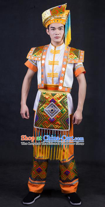 Chinese Traditional Zhuang Nationality Golden Clothing Ethnic Bridegroom Folk Dance Costume for Men