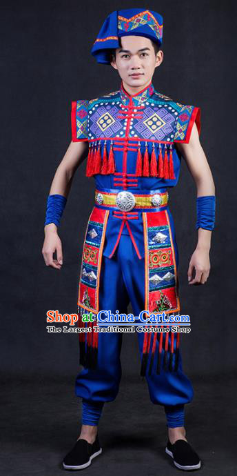 Chinese Traditional Yao Nationality Royalblue Clothing Ethnic Bridegroom Folk Dance Costume for Men