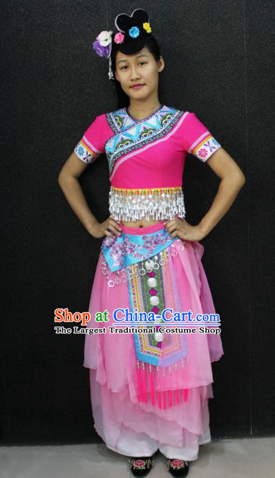 Chinese Traditional Zhuang Nationality Pink Dress Ethnic Folk Dance Costume for Women