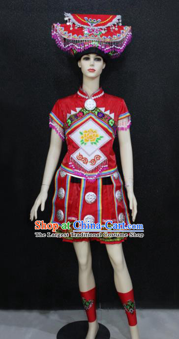 Chinese Traditional Zhuang Nationality Red Dress Ethnic Folk Dance Costume for Women