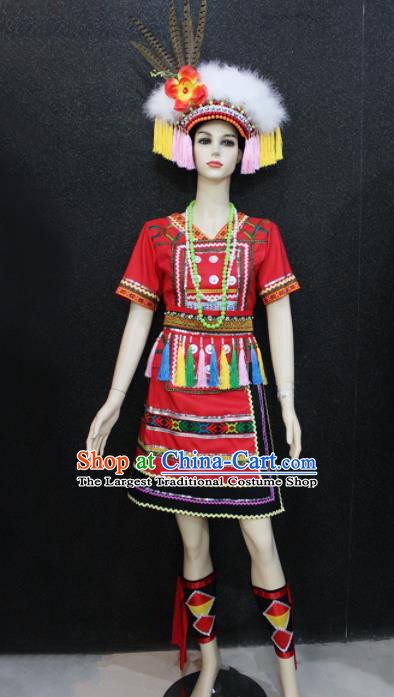 Chinese Traditional Gaoshan Nationality Red Dress Ethnic Folk Dance Costume for Women