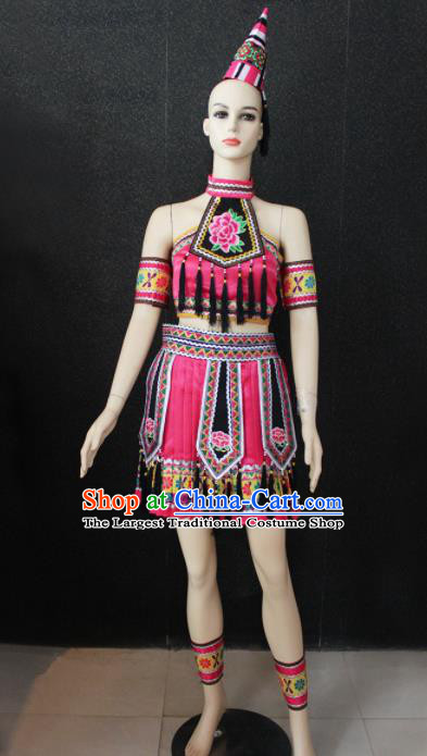 Chinese Traditional Yao Nationality Pink Dress Ethnic Folk Dance Costume for Women