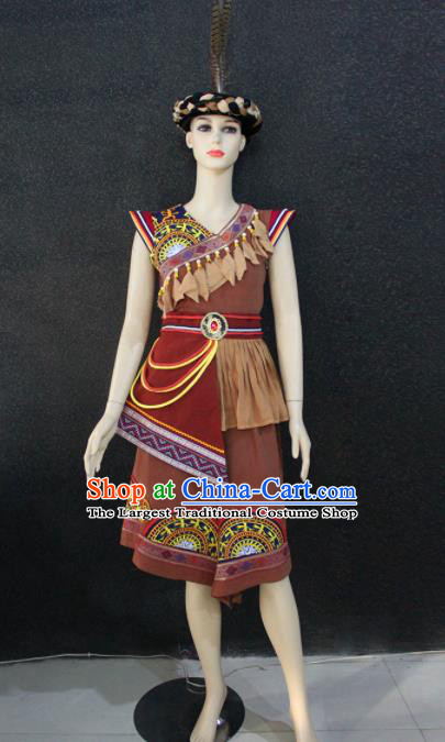Chinese Traditional Zhuang Nationality Female Brown Dress Ethnic Folk Dance Costume for Women