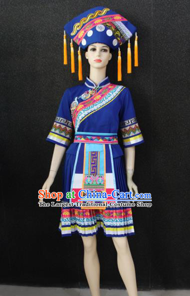 Chinese Traditional Zhuang Nationality Royalblue Dress Ethnic Folk Dance Costume for Women