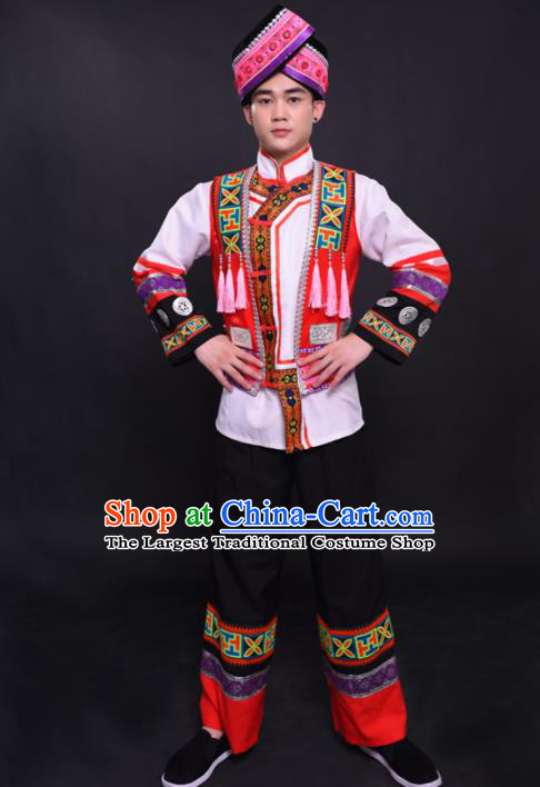 Chinese Traditional Ethnic White Costume Yao Nationality Festival Folk Dance Clothing for Men