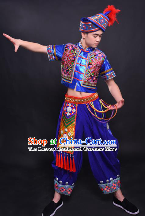 Chinese Traditional Ethnic Royalblue Costume Zhuang Nationality Festival Folk Dance Clothing for Men