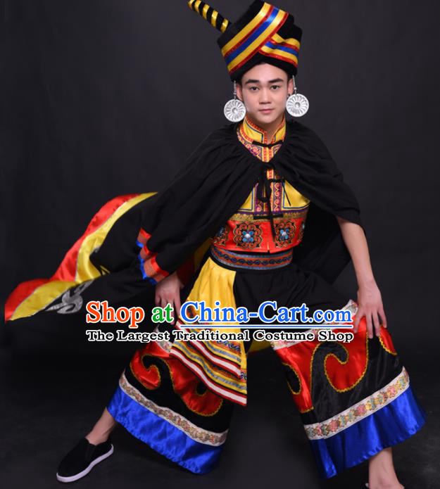 Chinese Traditional Ethnic Prince Golden Costume Yi Nationality Festival Folk Dance Clothing for Men