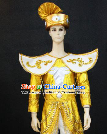 Chinese Traditional Ethnic Prince Golden Costume Miao Nationality Festival Folk Dance Clothing for Men
