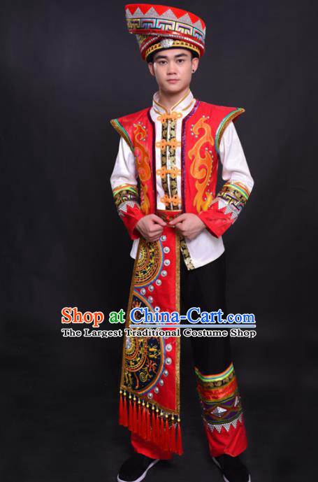 Chinese Traditional Ethnic Bridegroom Costume Zhuang Nationality Festival Folk Dance Clothing for Men