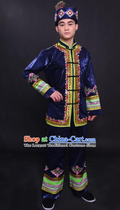 Chinese Traditional Ethnic Navy Costume Mulao Nationality Festival Folk Dance Clothing for Men
