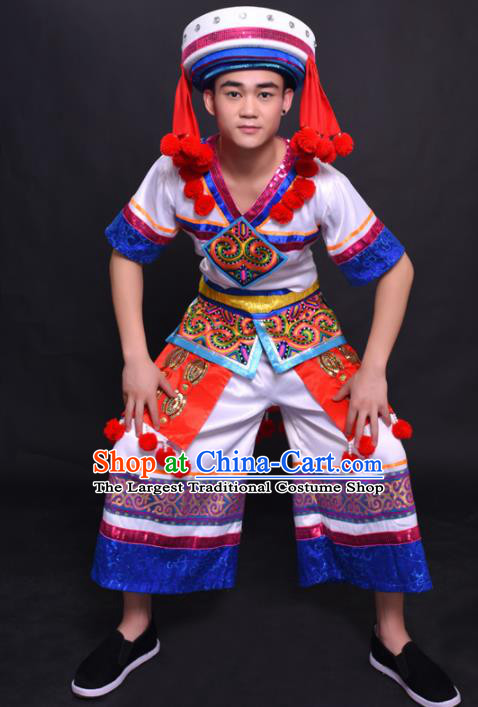 Chinese Traditional Ethnic Bridegroom White Costume Yao Nationality Festival Folk Dance Clothing for Men