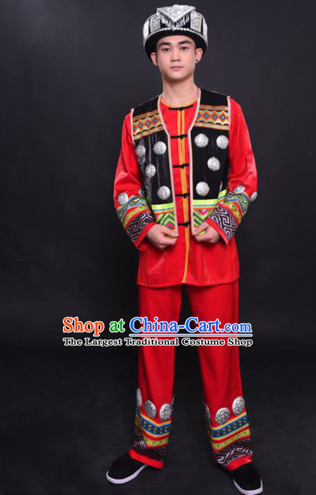 Chinese Traditional Ethnic Bridegroom Red Costume Miao Nationality Festival Folk Dance Clothing for Men