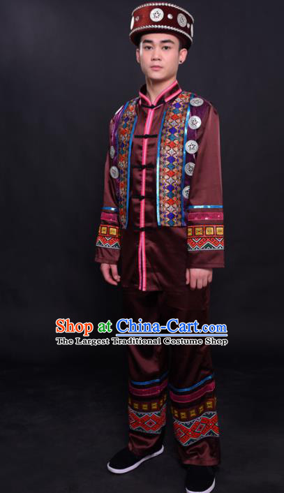 Chinese Traditional Ethnic Bridegroom Brown Costume Dong Nationality Festival Folk Dance Clothing for Men