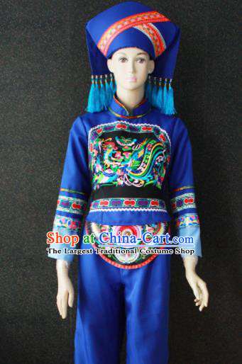 Chinese Traditional Zhuang Nationality Embroidered Blue Clothing Ethnic Bride Folk Dance Costume for Women