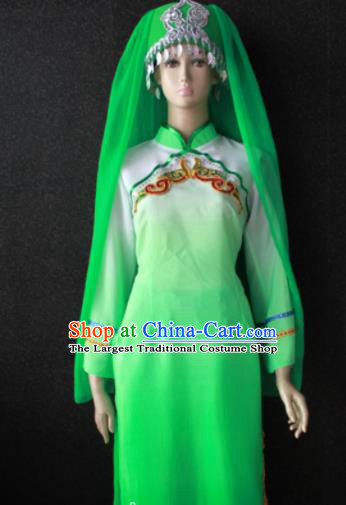Chinese Traditional Salar Nationality Embroidered Green Dress Ethnic Bride Folk Dance Costume for Women