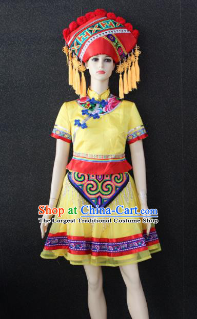 Chinese Traditional Zhuang Nationality Embroidered Yellow Dress Ethnic Folk Dance Costume for Women